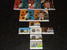 The Netherlands - coin set 2014 through 2016 (5 sets) + 2 x 2 Euro coin card 2013 + 2014 + 4 x 5 Euro coin card 2013 through 2016