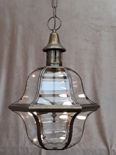 Large Venetian brass hanging lamp with curved glass panels, from the 50s.