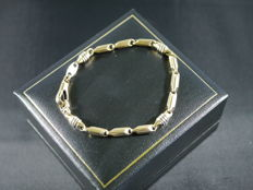 Bracelet yellow white gold 750/1000 - 18 karat rice grains - 20 cm, 12.50 grams
