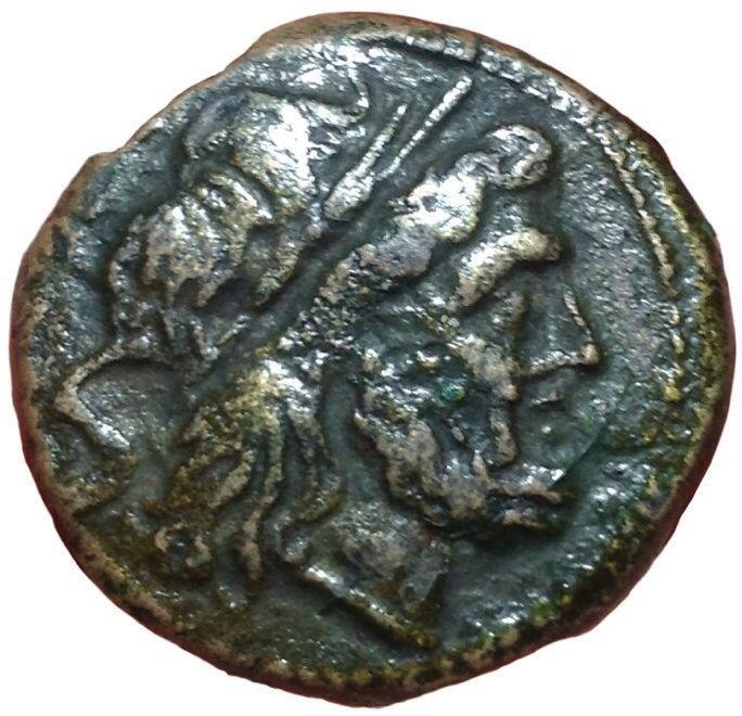 Roman Republic - Anonymous Issue after 211 BC - Æ Semis (24mm, 14,30g.), Rome mint - Head of Saturn / Prow - Cr. 56/3; BMCRR Roma 229