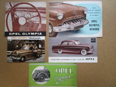 OPEL Olympia and Olympla Rekord - Lot of 5 authentic brochures - from 1930 to approx. 1960