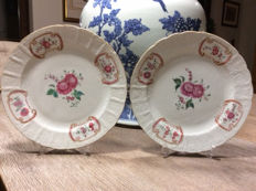 Pair Famille rose Export plates - China - 18th century