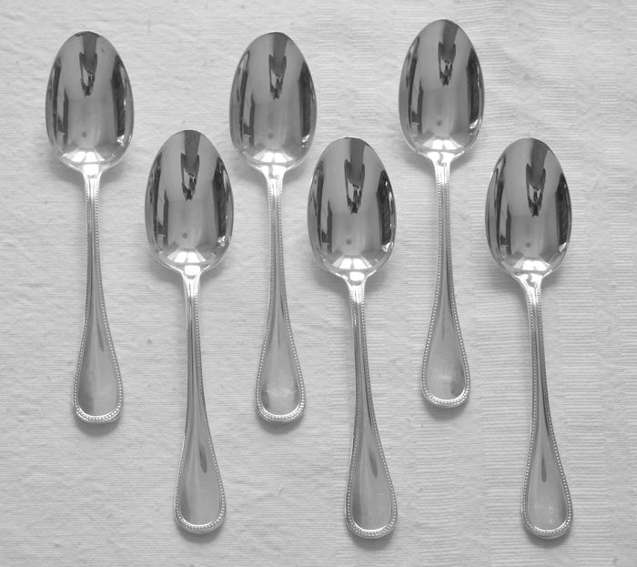 "Set of 6 coffee spoons, silver plated metal, Christofle, ""Perles"" model"
