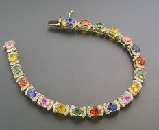Luxurious sapphire-brilliant bracelet, 14.62 ct in total, made of 585 yellow gold *NO RESERVE PRICE!*