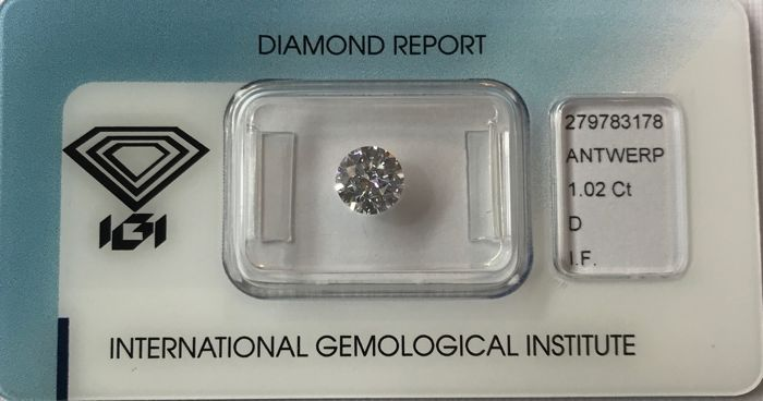 1.02 ct Round Brilliant Diamond DIF IGI 3EX  #1970  Low Reserve