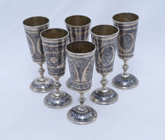 Vodka cups - Set - 6 cups - 875 Silver - Black Enamel Niello - Russia - 1927-1958