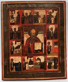 Russian wooden icon of St. Nikolas with scenes of his life, end of 19 century