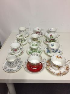 Collection of 12 vintage Royal Albert cup and saucers made around 1960