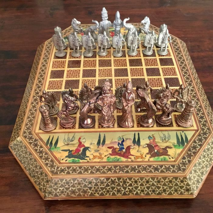 Persian chess set metal hand made wooden board with persian painted scenes catawiki - Ornate chess sets ...
