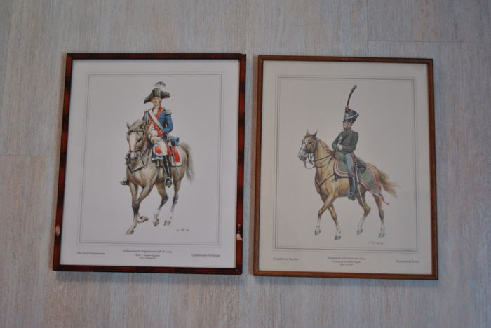 A lot of drawing of two soldiers of the Kingdom of Sweden