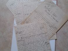 Abel Hermant; Lot of 5 original handwritten pages - 30s/40s