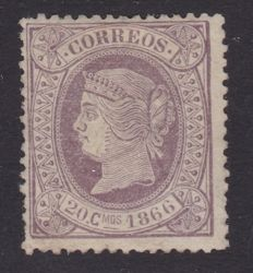 Spain 1866 - Isabel II, 20 cents in lilac colour - Edifil 86