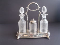 Crystal glass oil vinegar and mustard set in silver plated holder