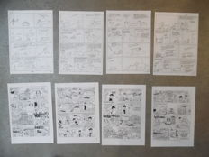 Cauvin, Raoul - 6 x original draft sketches (complete gag strips) + 4 plate reproductions - Taxi girl + dedication