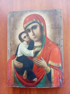 Orthodox Russian icon of Mother of God of Vladimir hand painted - 19th century