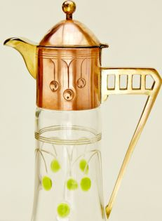 Glass carafe (Porschinger or Theresienthal) with green glass cabochons and a fitting (Deffner or WMF) - Jugendstil / Art Nouveau