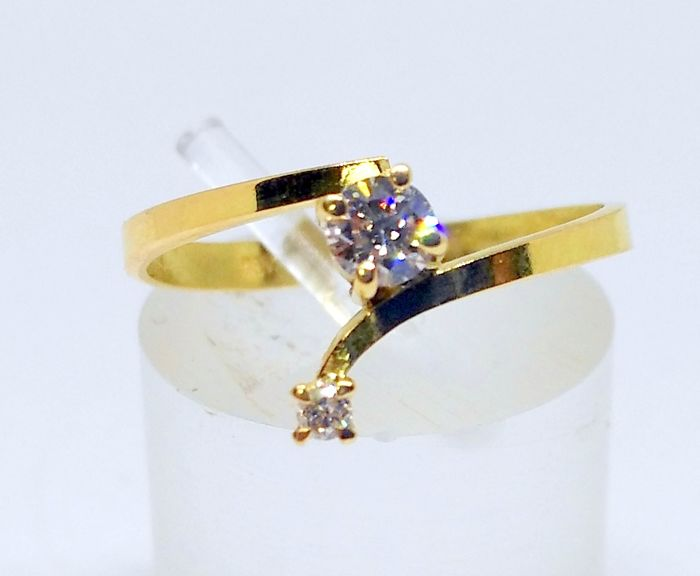 Cocktail ring in 18 carat yellow gold with 2 diamonds - No reserve - Inner size: 17 mm - Weight: 1.5 g