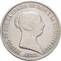 Isabel II. mint Seville 20 Reales of 1855 EF/XF Silver