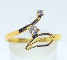 Cocktail ring in 18 carat yellow gold with 2 diamonds - No reserve - Inner size: 17 mm - Weight: 1.7 g
