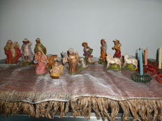 14 Manger Figurines + 9 Old Candle Holders