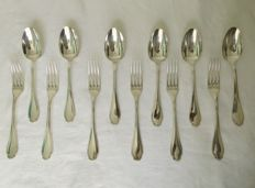 6 silver plated utensils for a fish course, Christofle, beaded model