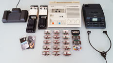 2 very nice Philips good working mini cassette players / transcriptors + 19 cassettes + orig. headphones + foot pedal (505 and 720)