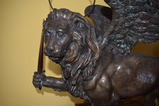 Antique Lion of St Mark in bronze - Venice, Italy - late 19th century