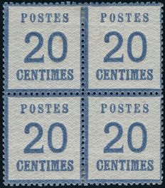 France 1871 - Stamp said to be from Alsace Lorraine 20 centimes blue in block of 4 - Yvert no. 6