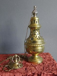 Bronze/copper heavy incense burner/barrel with chain - France - early 1st half 20th century