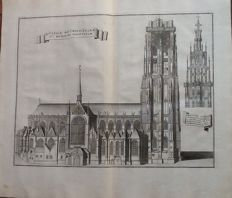 Ca 15 prints with theme ecclesiastical Mechelen: church, monasteries and bishops - le Roy, Groot kerkelijk toneel des hertogdoms van Brabant, 1727