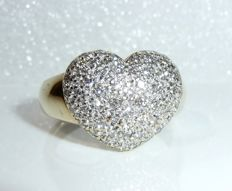 Ring in 14 kt / 585 gold - heart shape brilliant cut diamond weighing 0.55 ct ring size 56 - 17.8 mm - adjustable