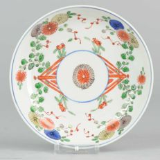 18th C Chinese Export porcelain Famille Verte dish, Flowers Marked, Kangxi period