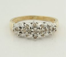 14 kt bi-colour gold ring with brilliant cut diamond, ring size 17.5 (55)