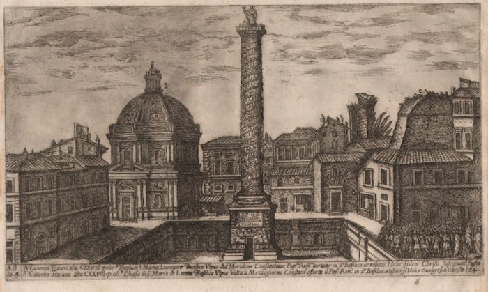 Aloisio Giovannoli (1550-1618) -The Column of Trajanus - Very rare etching from 1616