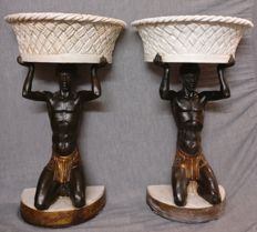 A pair of Venetian Moors in ceramics and terracotta - fruit bowls or flower vases - Italy, Venice - 1940s