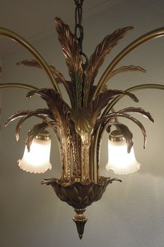 Six-armed hanging lamp with brass leaves and glass shades -Hollywood regency