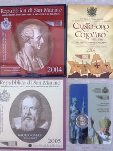 San Marino – Special year edition € 2 years 2004, 2005, 2006 and 2011.