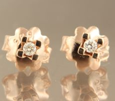 14 kt rose gold ear studs with brilliant cut diamond, approx. 0.07 ct in total, size 3.0 mm wide