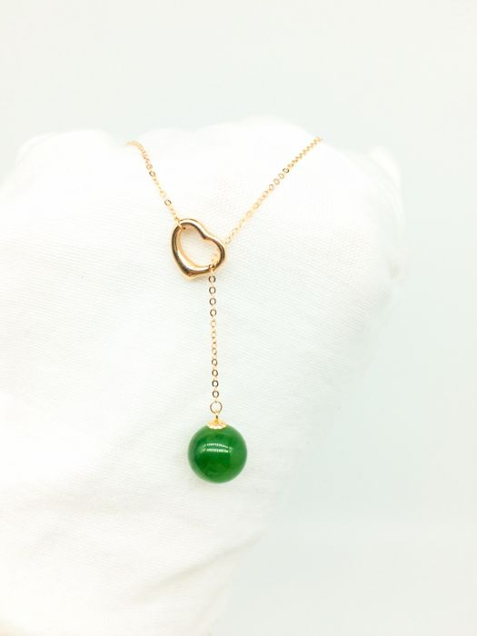 18kt Rose Gold Necklace With Jade Pendant Catawiki