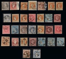 Spain 1856/1870 - Isabel II and Provisional Government. Lot of 30 stamps from Pontevedra.