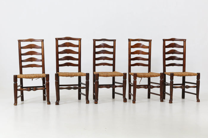 Set of six elm ladder back chairs - England - 20th century