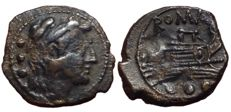 Roman Republic - Anonymous c. 91 BC - Æ Quadrans (20/18mm, 3,34g.), Rome mint - Head of Hercules / Prow of galley - Cr. 339/4 a; RBW 1244