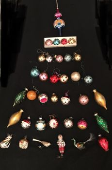 Very old blown glass Christmas balls and Christmas birds, Lauscha