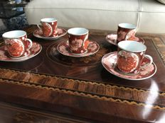 Fine coffee set with 5 cups and 5 saucers - China, circa 1970