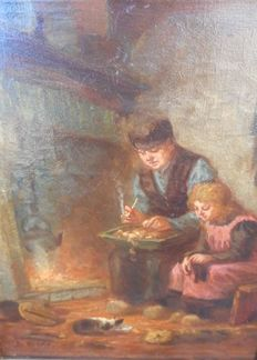 Bernard A. Henke (1888-onbekend) - Man with his daughter & cat enjoying the fireplace