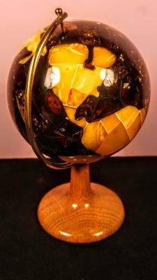 100% Natural Baltic Amber mosaic Globe sphere on wood pedestal, diameter ca. 8 cm,  125 grams