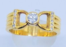 Cocktail ring in 18 kt yellow gold - 11 diamonds totalling 0.35 ct - Inner measurement: 18 mm