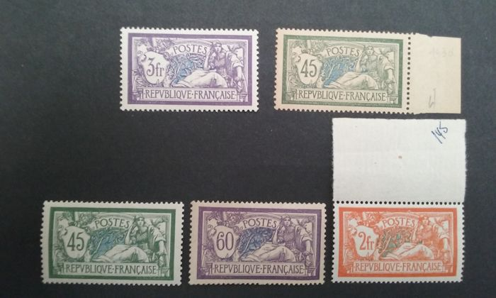 France 1907/1926 - Merson type - Yvert no. 143 to 145 and 206