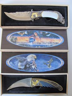 2 x Wild West, decoration, collector hunting knife