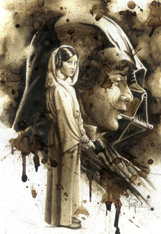 Star Wars: Leia, Luke Skywalkwer & Darth Vader - Original Coffee Drawing by Juapi
